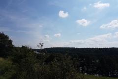 Niebieski szlak rowerowy: Duża pętla mrągowska;Widok naJezioro Wagiel